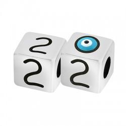 """Brass Bead Cube """"2"""" w/ Evil Eye & Enamel 10mm (Ø5.2mm)"""