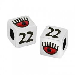 """Brass Bead Cube """"22"""" w/ Evil Eye & Enamel 10mm (Ø5.2mm)"""