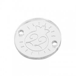"Plexi Acrylic Connector Lucky Charm Round ""22"" 18mm"