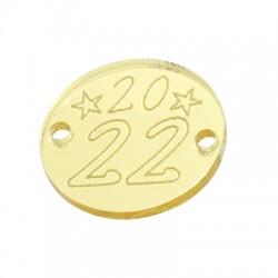 "Plexi Acrylic Connector Lucky Charm Round ""2022"" 20mm"