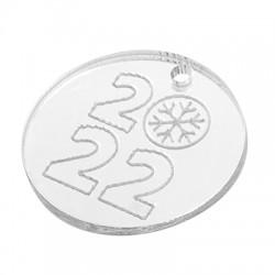 "Plexi Acrylic Lucky Charm Round Snowflake ""2022"" 25mm"