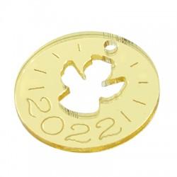 "Plexi Acrylic Lucky Charm Round Angel ""2022"" 25mm"