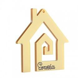 """Plexi Acrylic Lucky Pendant House """"Ευτυχία"""" 73x65mm"""