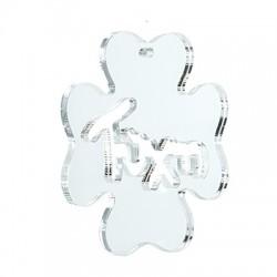 """Plexi Acrylic Lucky Pendant Four Leaf Clover """"Τύχη"""" 62mm"""