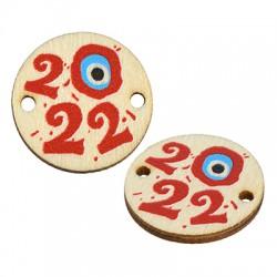 "Wooden Luckt Connector Round w/ Evil Eye ""2022"" 20mm"