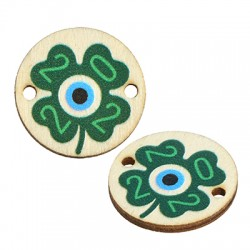 """Wooden Lucky Connector Round Four Lead Clover """"2022"""" 20mm"""
