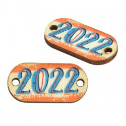 """Wooden Lucky Connector Tag """"2022"""" 21x10mm"""