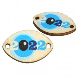 """Wooden Lucky Connector Oval w/ Evil Eye """"2022"""" 21x14mm"""
