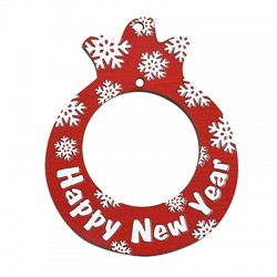 """Wooden Lucky Pendant Pomegranate """"Happy New Year""""  59x74mm"""