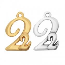 "Zamak Lucky Charm ""22"" 16x20mm"