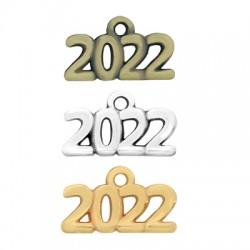 "Zamak Lucky Charm ""2022"" 17x7mm"