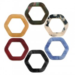 Plexi Acrylic Charm Hexagon Frame Hollow 15mm