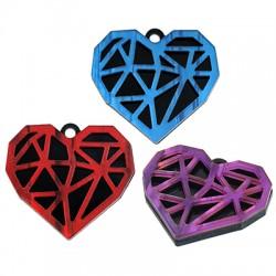 Πλέξι Ακρυλικό Μοτίφ Καρδιά Διαμάντι 33x29mm