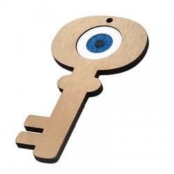 Wooden w/ Plexi Acrylic Pendant Key w/ Evil Eye 48x90mm