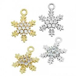 Brass Charm Snowflake w/ Zircon 10x14mm