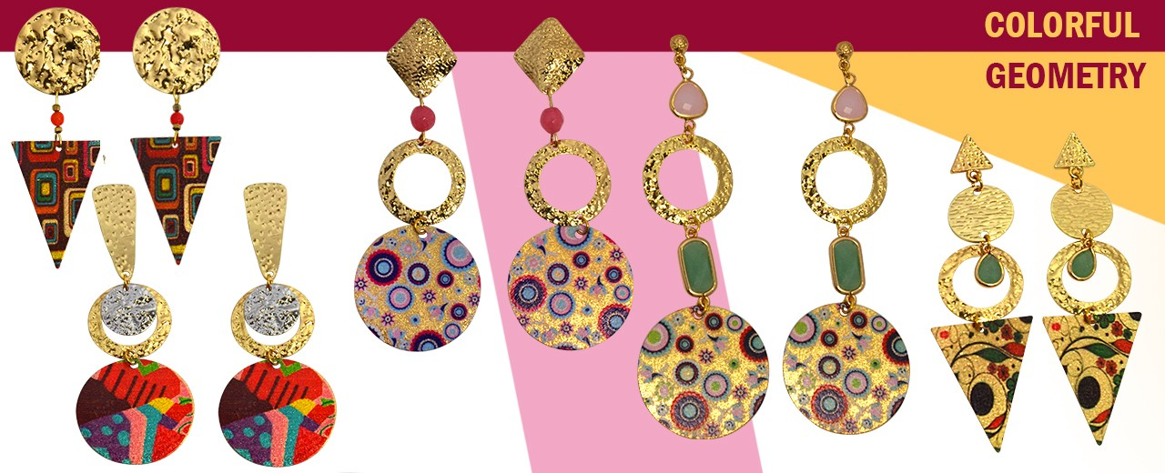 Colorful Geometry | Stainless Steel Earring Pendants